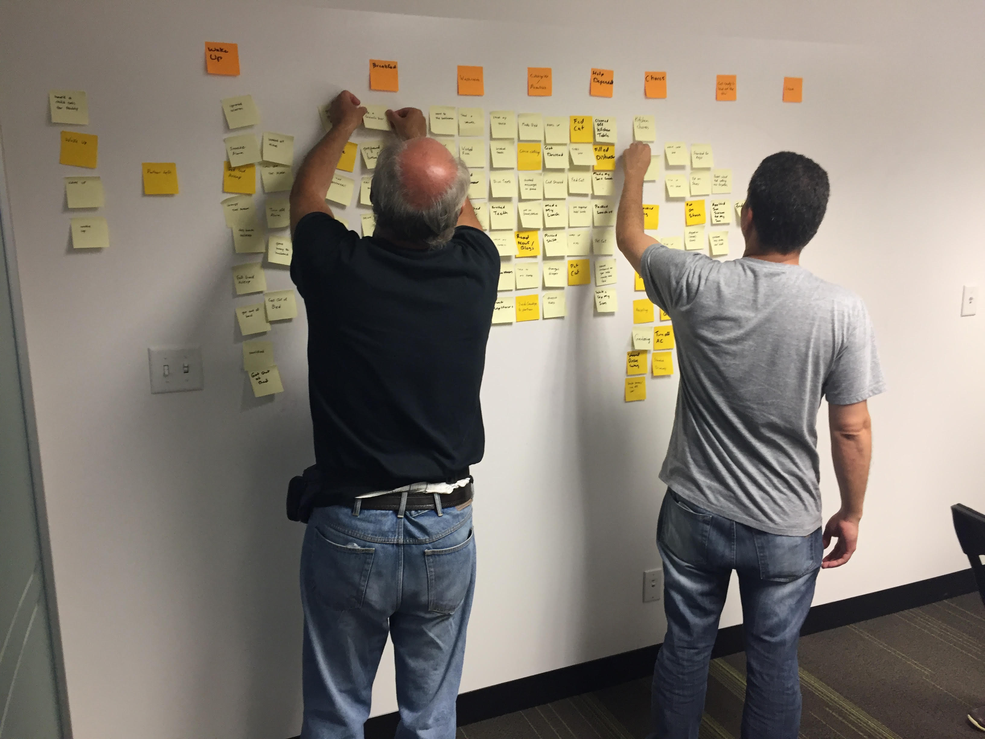 Two men putting post-its on whiteboard