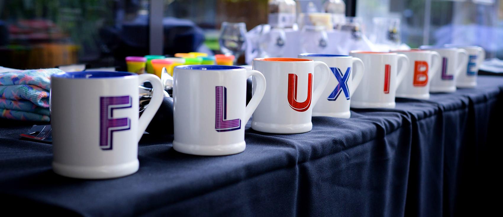 Set of mugs that spell Fluxible